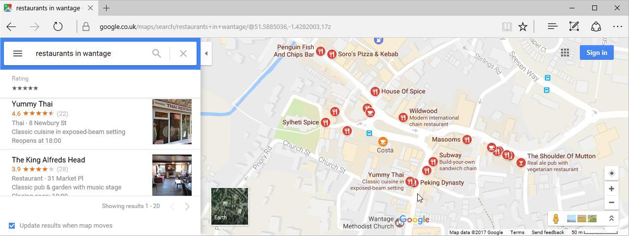 Google Map Search results for Restaurants in Wantage